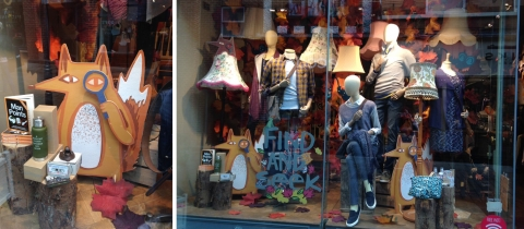 Autumnal Hide & Seek' theme with cute creatures hidden within the window display.