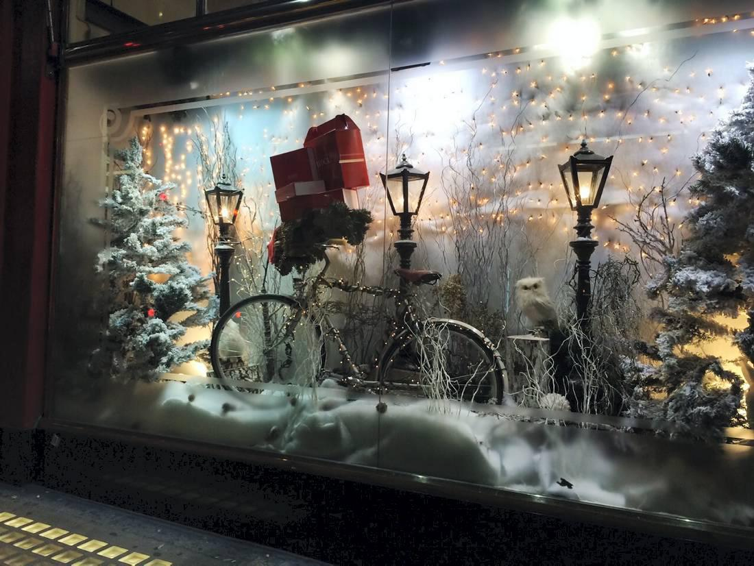 A beautiful view of a winter night in this window display, with glims, snowed firs, an owl, and an adorned bicycle.
