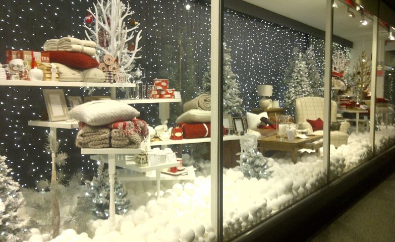 The experience of staying in the forest in the cold times, with blankets, pillows, big snowballs, all in this winter window display.