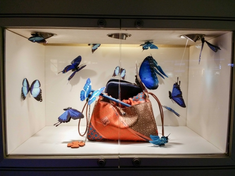 A store from Dubai Mall decorated its summer window display with blue butterflies and a purse.