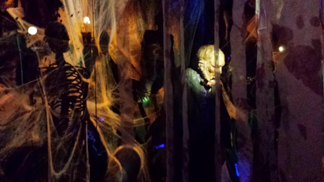 Bolsera in Barcelona is celebrating Halloween through a scary window display with zombies and dim lights.