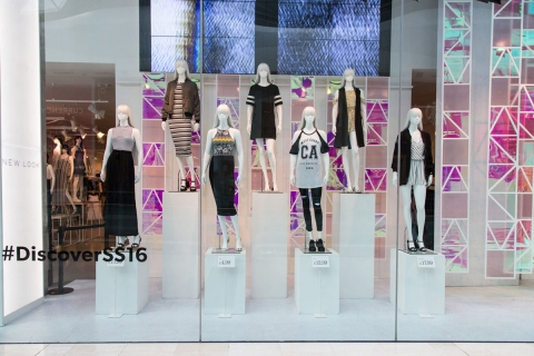 New Look has a clean, fresh and contemporary decoration for its summer window display.