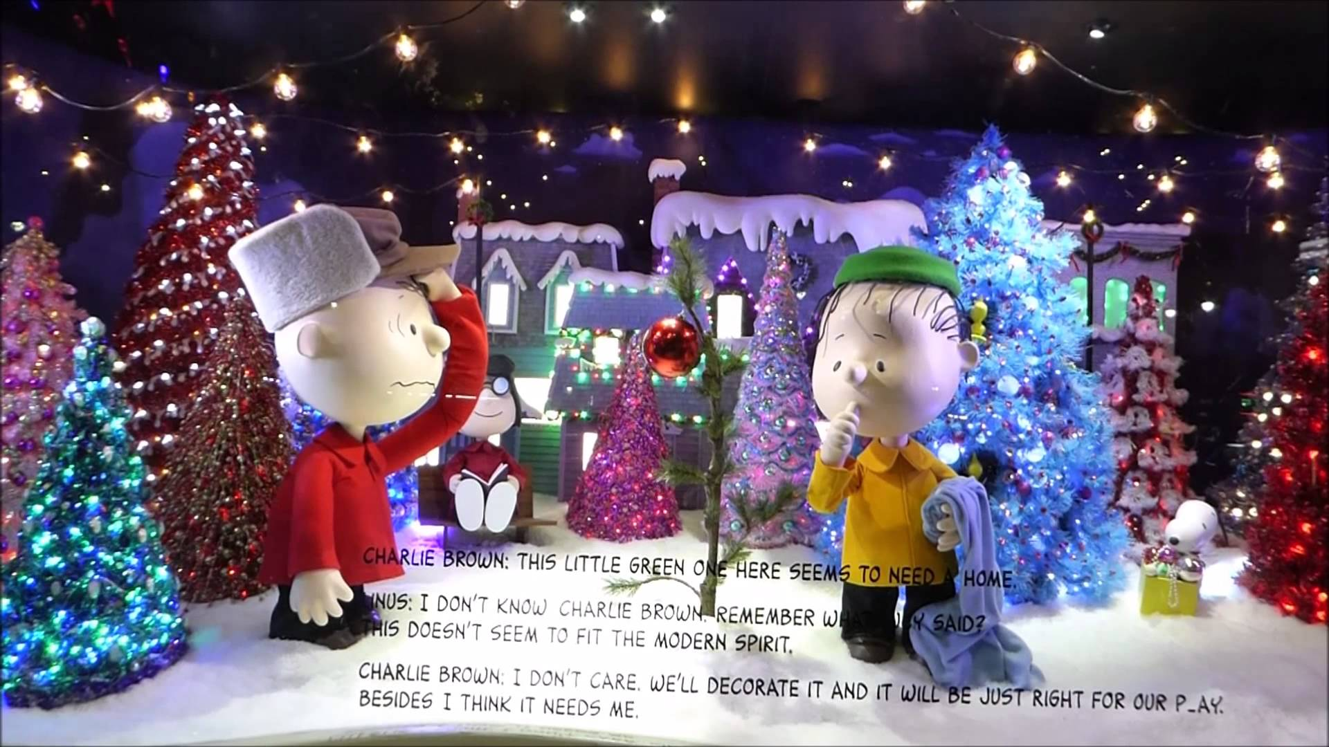 Charlie Brown and the gang, a little story between them and the winter spirit for this window display.
