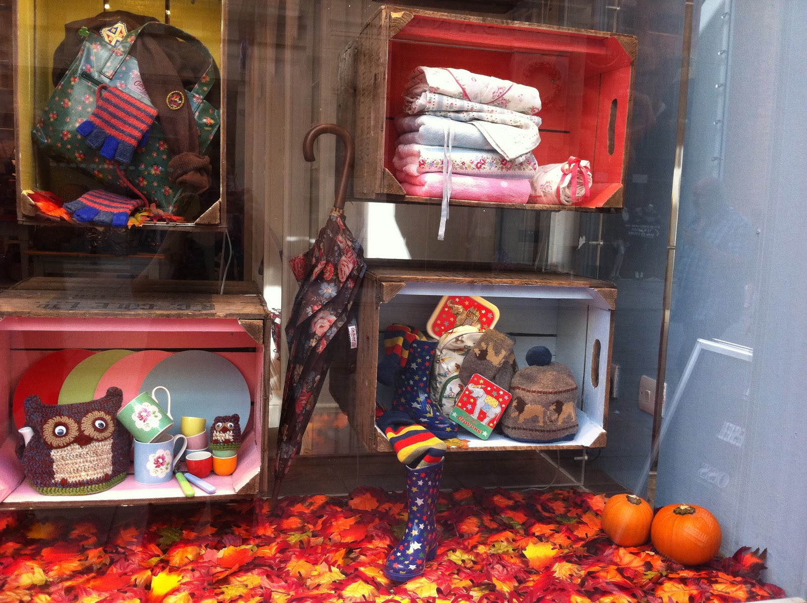 Cute autumn clothes for kids, a few colored leaves and two little pumpkins have decorated this window display.