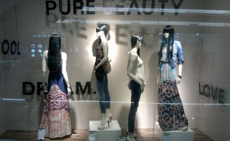 "The autumn window display from Stradivarius is decorated with some words like ""dream"", ""cool"", ""fantasy""."