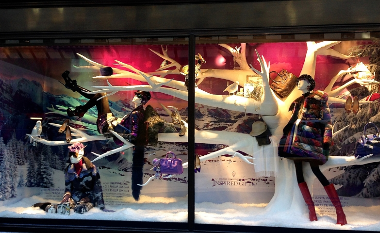 Sunset as it is in winter, thick clothes on mannequins, 5th Avenue will have you wishing for winter.