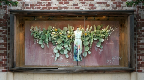 Anthropologie has an autumn window display that makes you feel like you are watching the most beautiful cactuses from the desert.