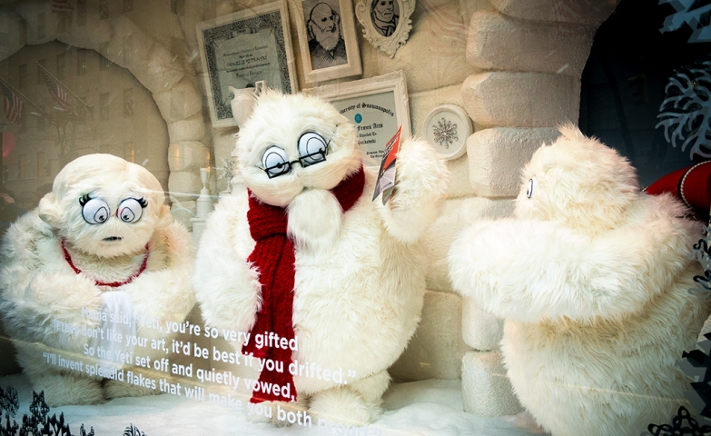 It seems that in this winter window display are three furry snowmen having a deep conversation