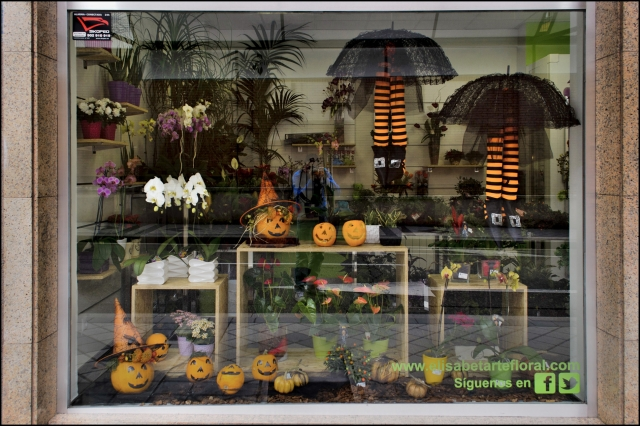Elisabetartefloral, decorated the Halloween window display with pumpkins with happy faces, black and orange socks and other details.
