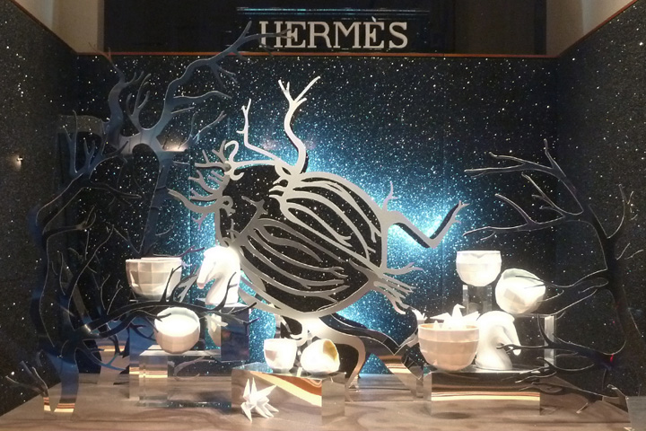 Hermes has a big bug, all white objects in tone with winter, for the window display.