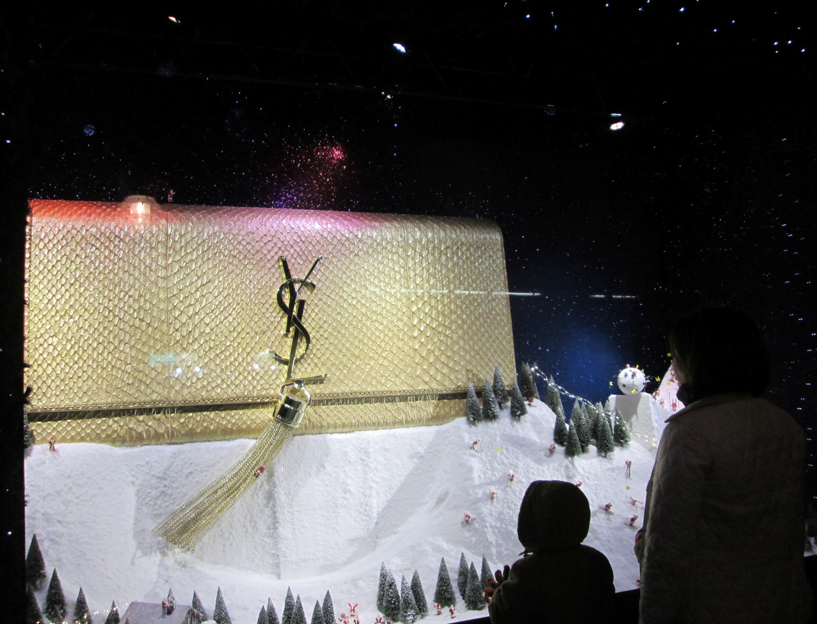For sure one of the best winter window displays, a huge YSL purse placed on a hill of snow.