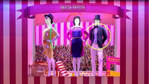 Kamishibai has a colorful project for the summer and integrated with their window display circus elements.