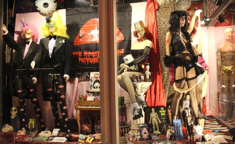 Love saves the day with a rock-horror style chosen for Halloween window display.