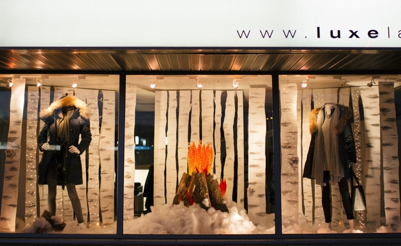 Choose to make a fire in the snow to get yourself warmer as Luxe Label did in their winter window display.