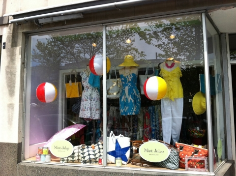 Mint Julep chose water balls to decorate their summer window display.