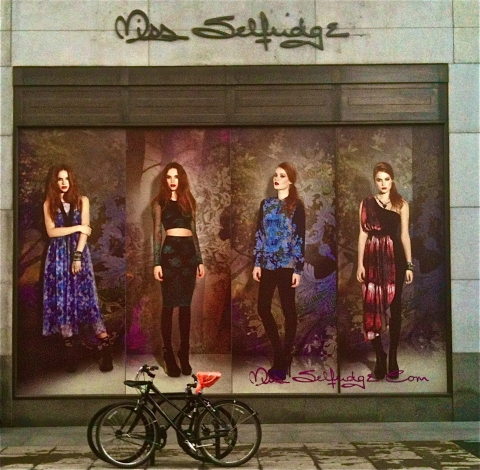 This autumn window display for Miss Selfridge has a great effect due to the oversize pictures of fashion models.