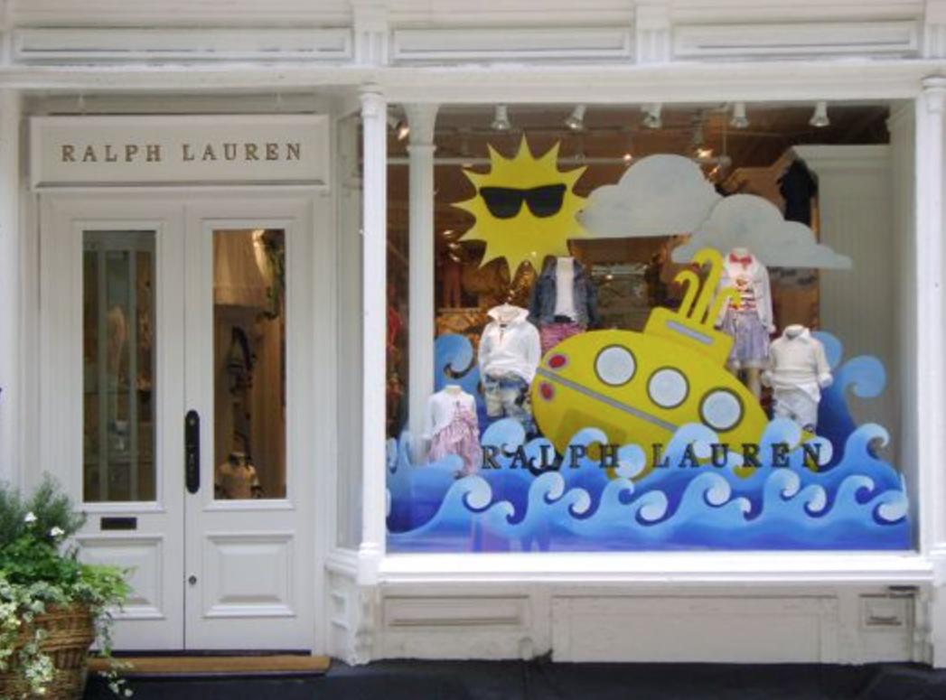 Cute summer window display created for Ralph Lauren Kids store.