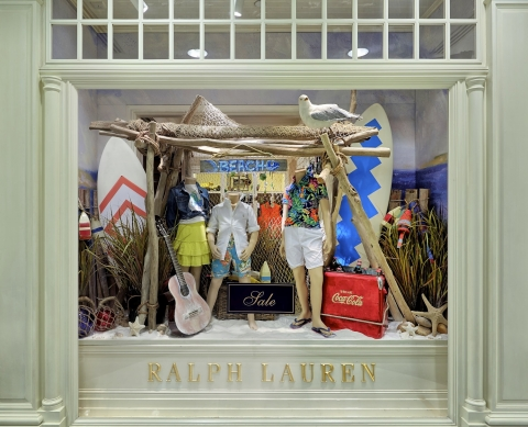 Staying on the beach with a cold coca-cola drink, this is how Ralph Lauren summer window display looks like.