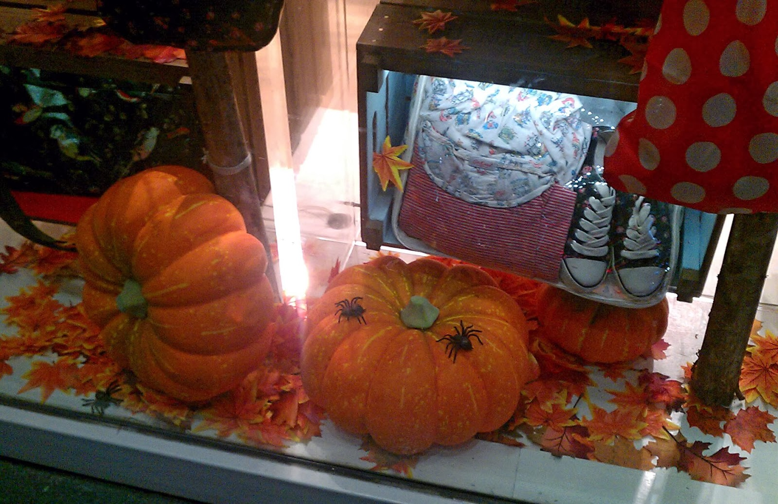 You can feel the Halloween in this window display by their pumpkins, leaves, and spiders on the ground.