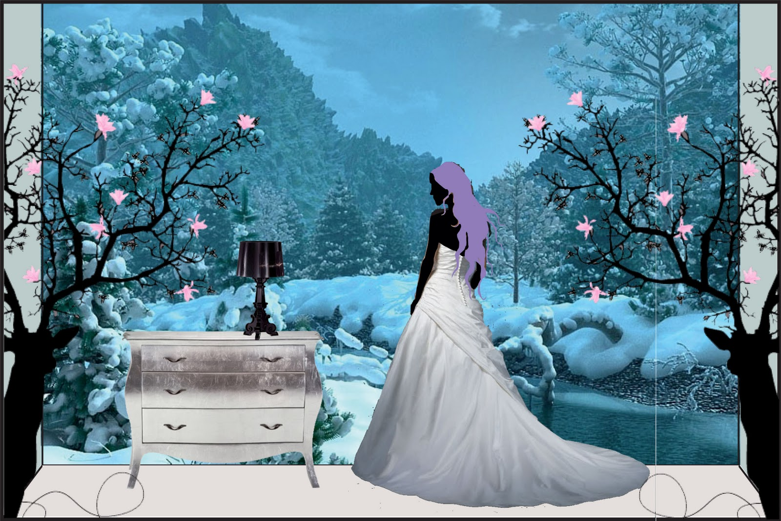 A window display showing a scene of a princess looking at the all white nature, and how the winter-cooled everything around her.