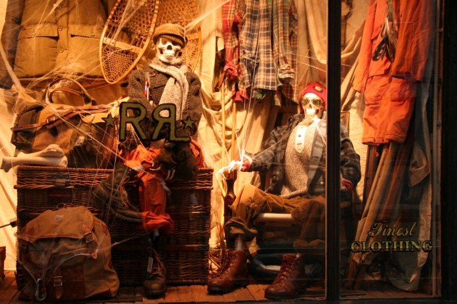 Ralph Lauren replaced mannequins with skeletons for Halloween window display, and also added some spiderweb.
