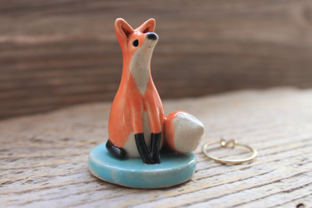 Little creative fox made from ceramic and pottery, makes a great jewelry ring holder with a decorative accent.