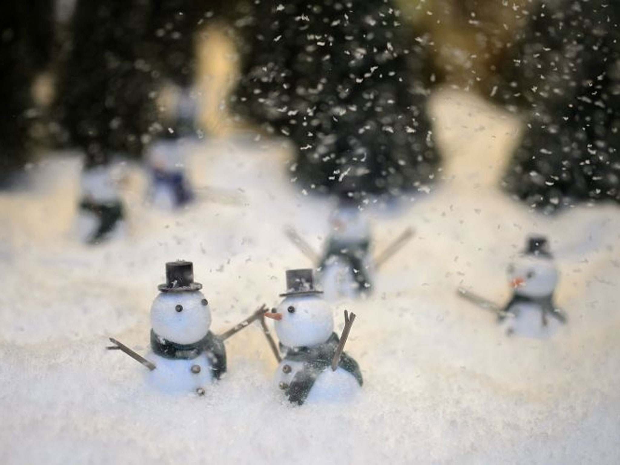 These are little snowmen enjoying the snow, details from Selfridges winter window display.