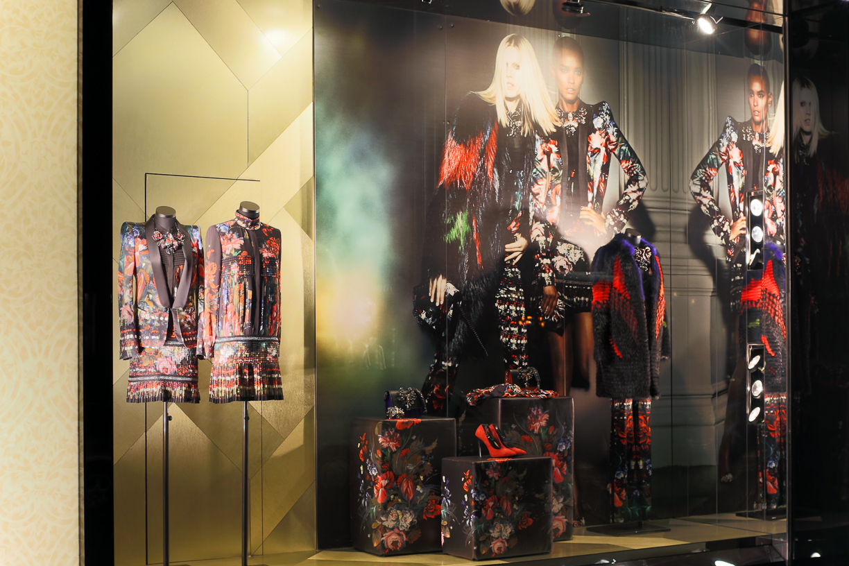 Elegance through this dark colors could be seen from Roberto Cavalli autumn window display.