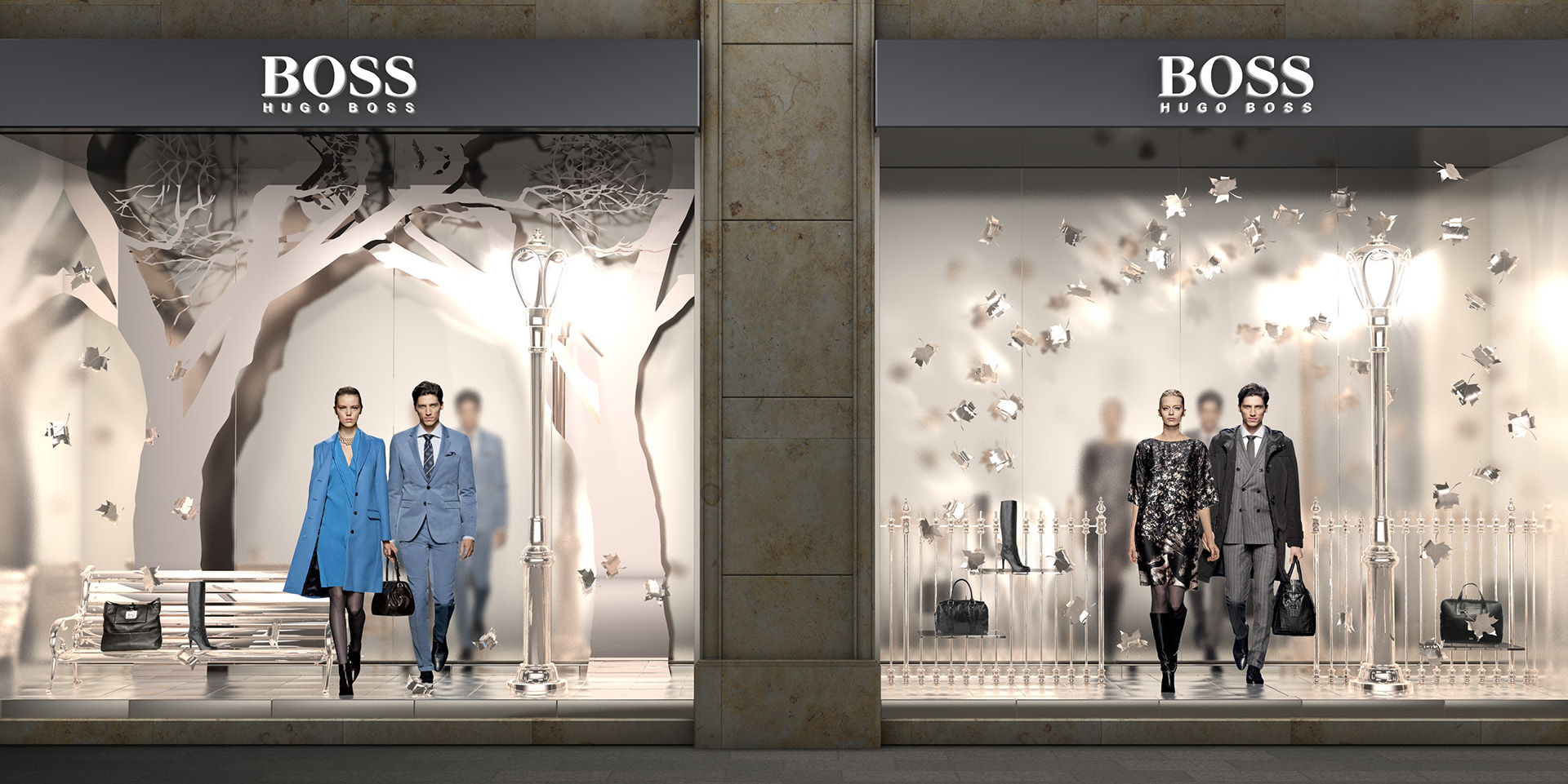 In this silver winter window display, were used images of real people instead of mannequins, with a stylish and classy setup.