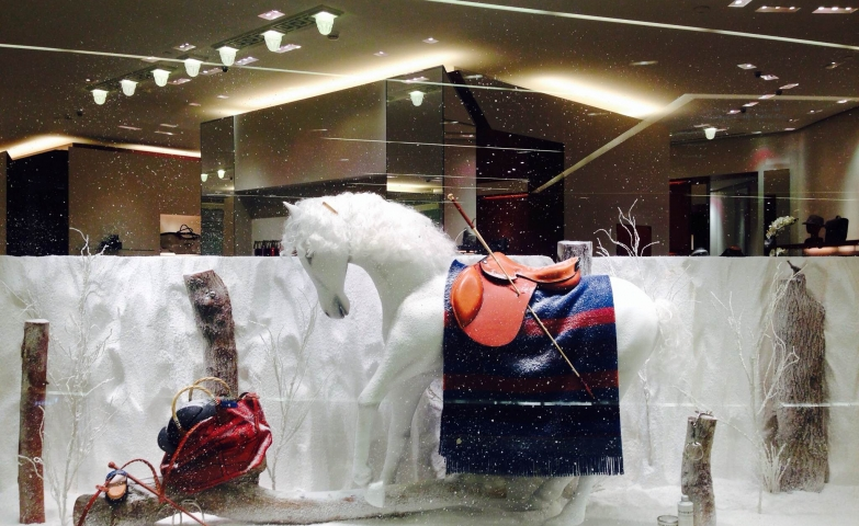 A horse with a blanket on, going through the hard winter presented in this window display.