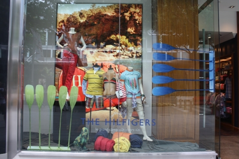 A summer camp concept created by Tomy Hilfiger for a window display in Knightsbridge Singapore.