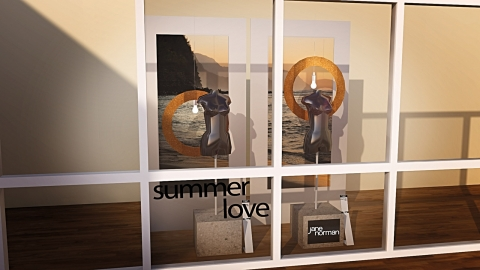 This summer window display shows in a minimalist way how love for the beach looks like.