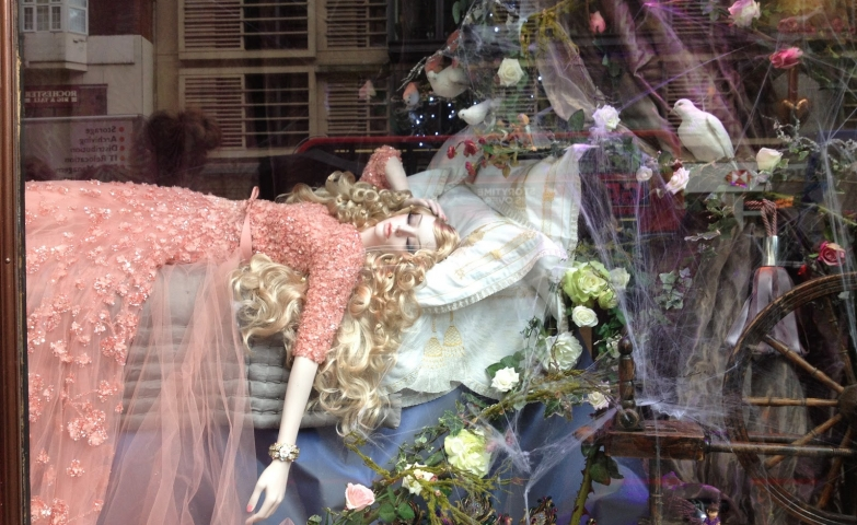 This winter window display is inspired and designed after the story of sleeping beauty with every detail.