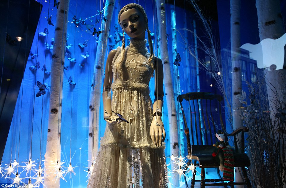 A puppet with strings, looking lonely on a cold winter night, a scene prepared for a window display.