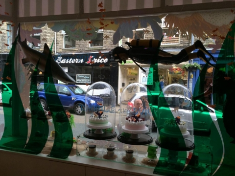 A soap company from Yorkshire created this summer window display with sharks.