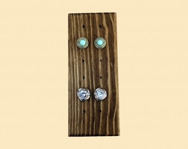 Holds up to five pairs, this is a creative jewelry earring holder made from wood, stain and paint.