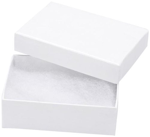 25 White Swirl Cotton Charm Jewelry Gift Boxes Usable For Jewelry
