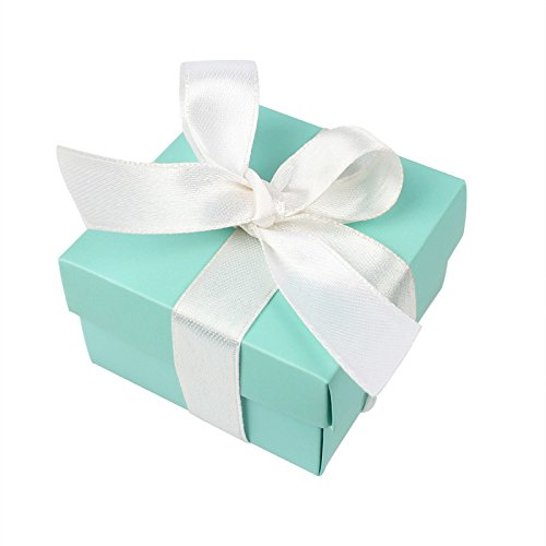 10 Small Square Turquoise Candy Jewelry Gift Box 10 Piece Silk Ribbon