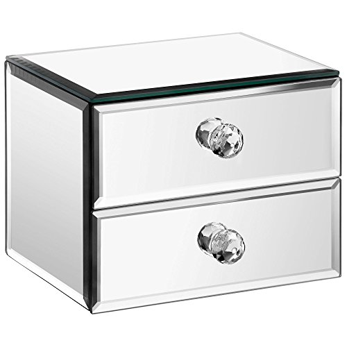 Small Mirrored Glass Jewelry Box With 2 Drawers Velvet Lining