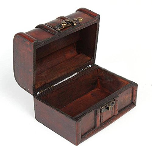 Small Chest Style Vintage Design Wood Lockable Jewelry