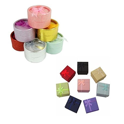 12 Pieces Random Color Round Square Shape Small Jewelry Gift Boxes
