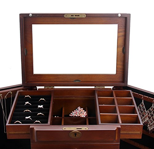 Extra Large Wooden Jewelry Box Jewelry Cabinet With Top