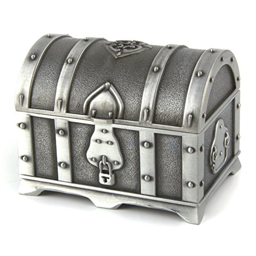 Small Rectangular Antique Silver Metal Jewelry Box Treasure Chest