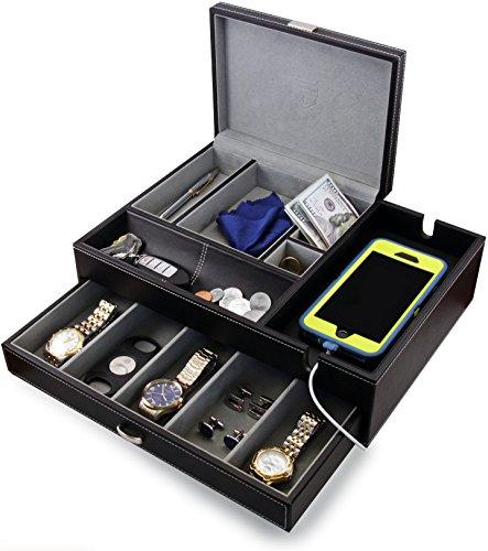 Big Dresser Jewelry Valet Box Mens Jewelry Box Organizer With