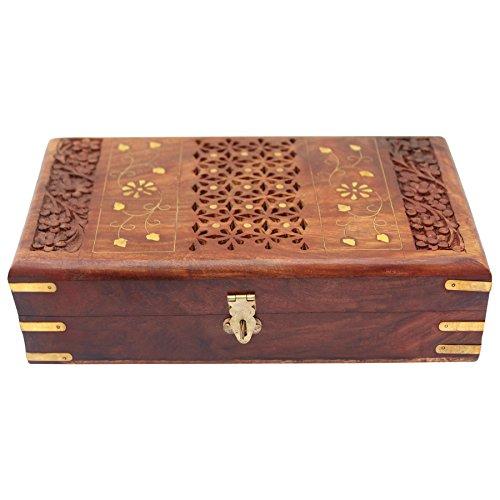 Vintage Red Lining Handmade Wooden Keepsake Box Jewelry Storage