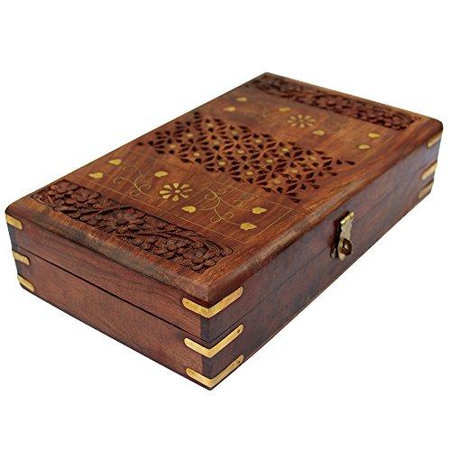 Vintage Red Lining Handmade Wooden Keepsake Box Jewelry Storage Case