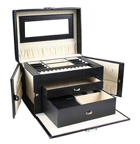 Large Black Leather Jewelry Box Storage Organizer Lockable