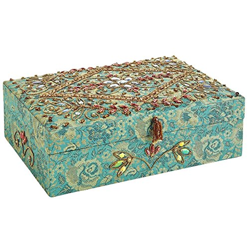Large Floral Pattern Hand Embroidered Beaded Jewelry Box Zen