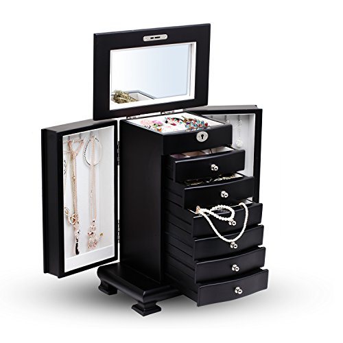large black wooden free standing jewelry cabinet armoire with 6 drawers zen merchandiser. Black Bedroom Furniture Sets. Home Design Ideas