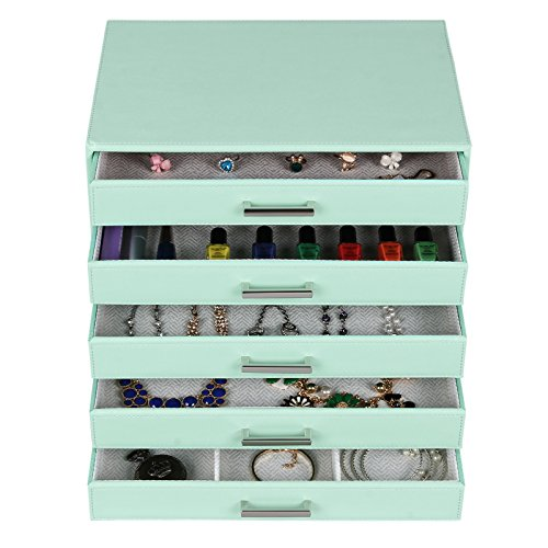 Large Green Mint 5 Drawer Jewelry Makeup Organizer Box Wood